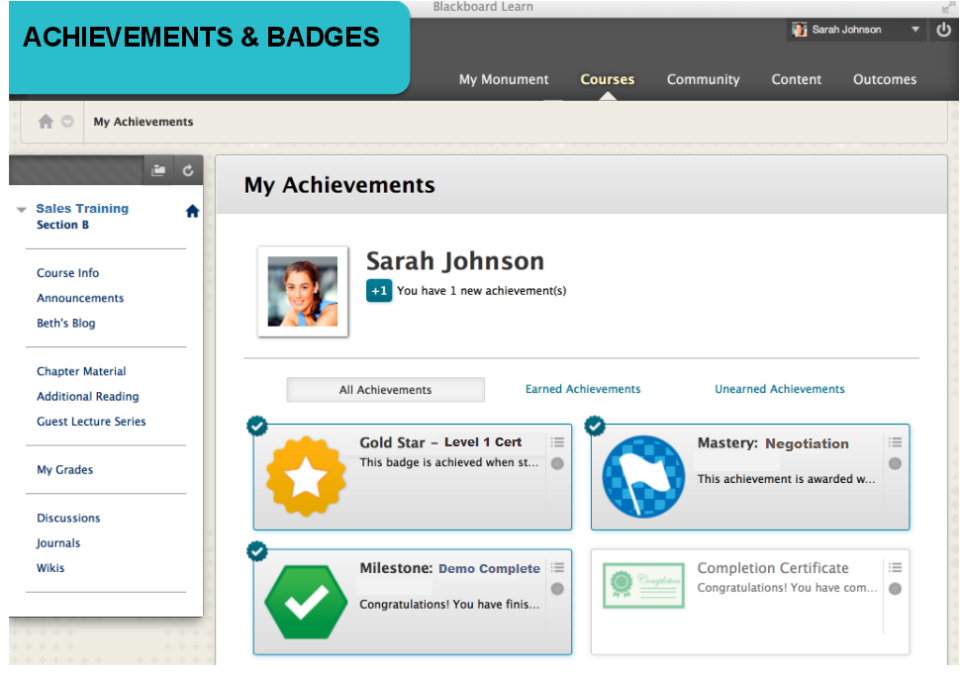 Badges, a gamification element, in Blackboard