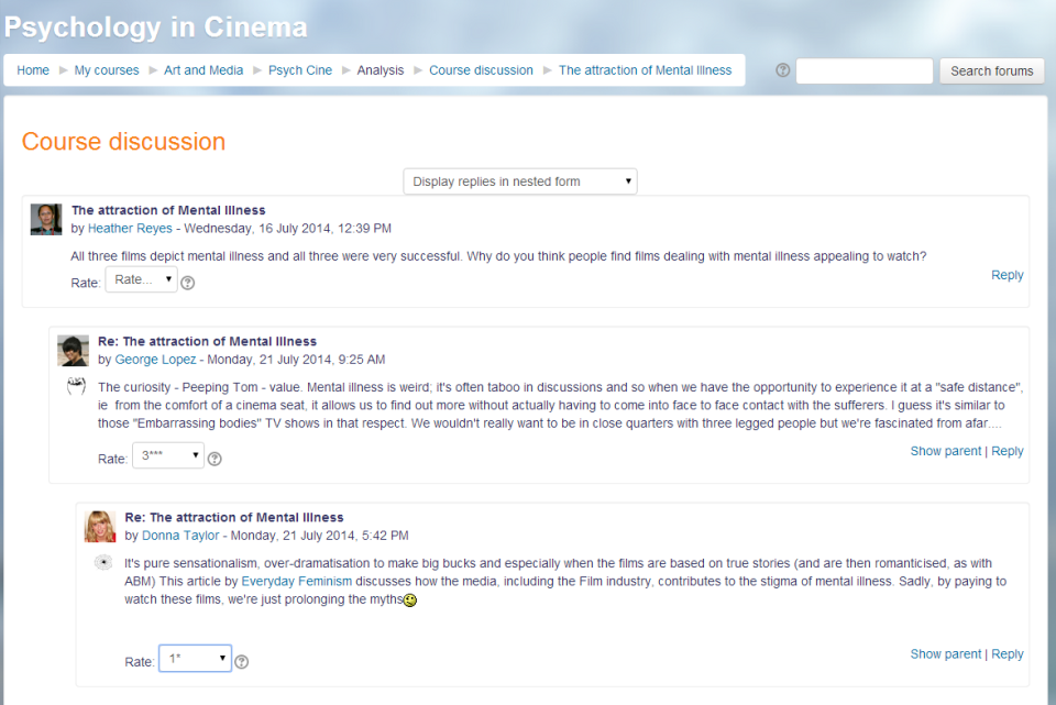 A forum in Moodle, a common social learning feature