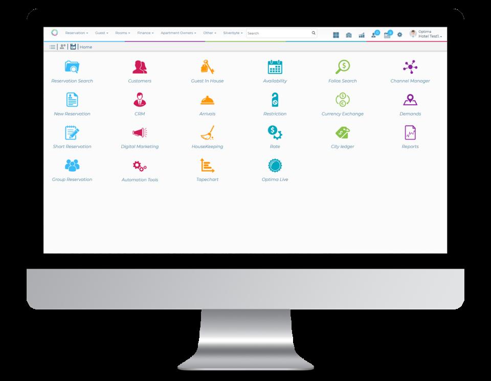 Optima Cloud main screen
