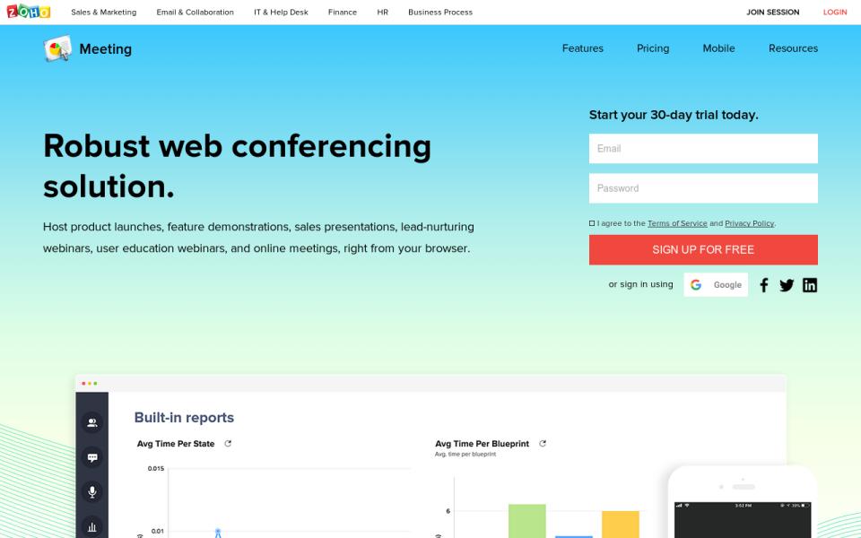 Zoho meeting- Webinar Software
