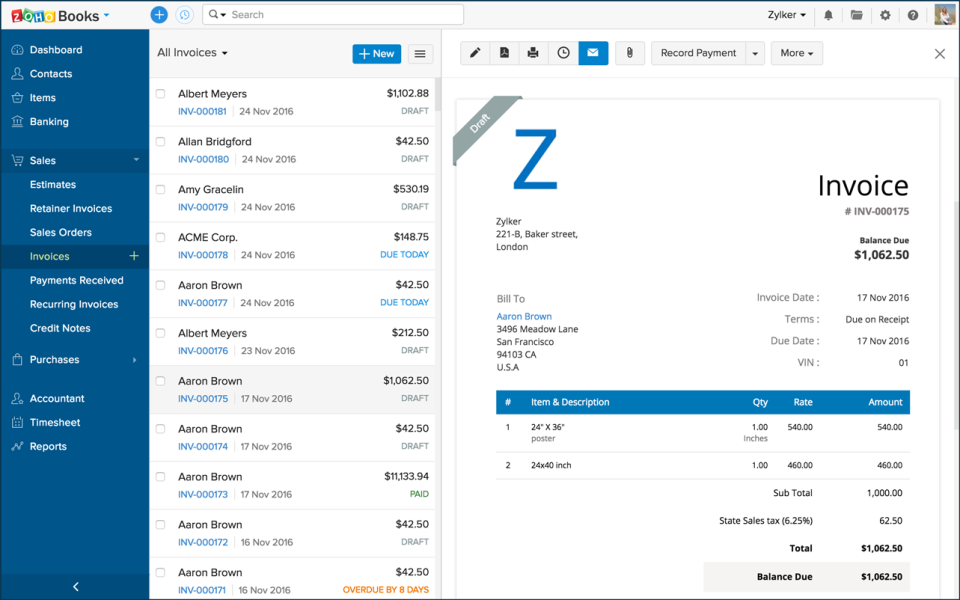 how to add bank account details to zoho invoices