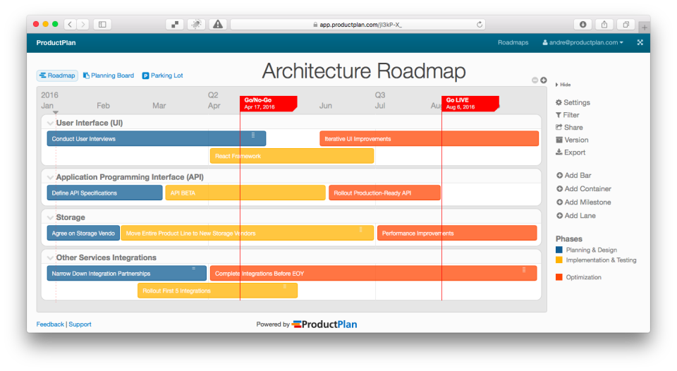 ProductPlan Reviews And Pricing - Visual roadmap template
