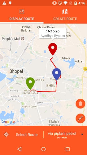 gps tracking in app