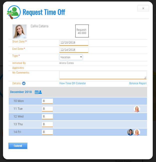 Time Request interface