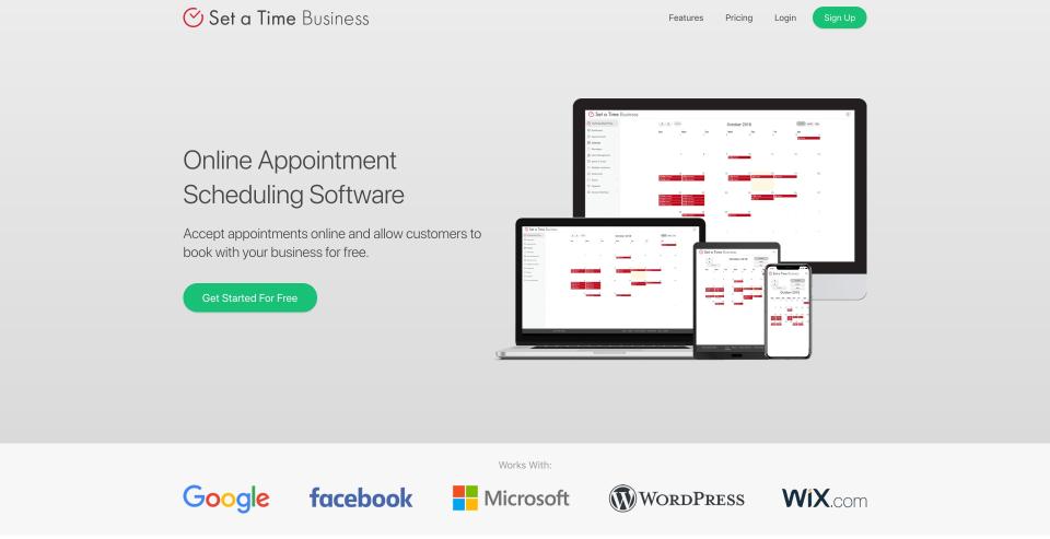 Set a Time home page
