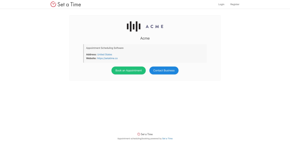 Set a Time booking page