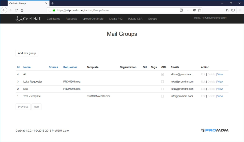 Mail Groups
