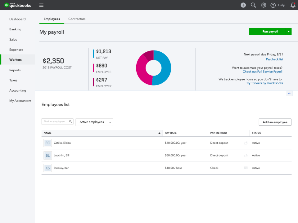 QuickBooks Payroll Reviews and Pricing - 2019