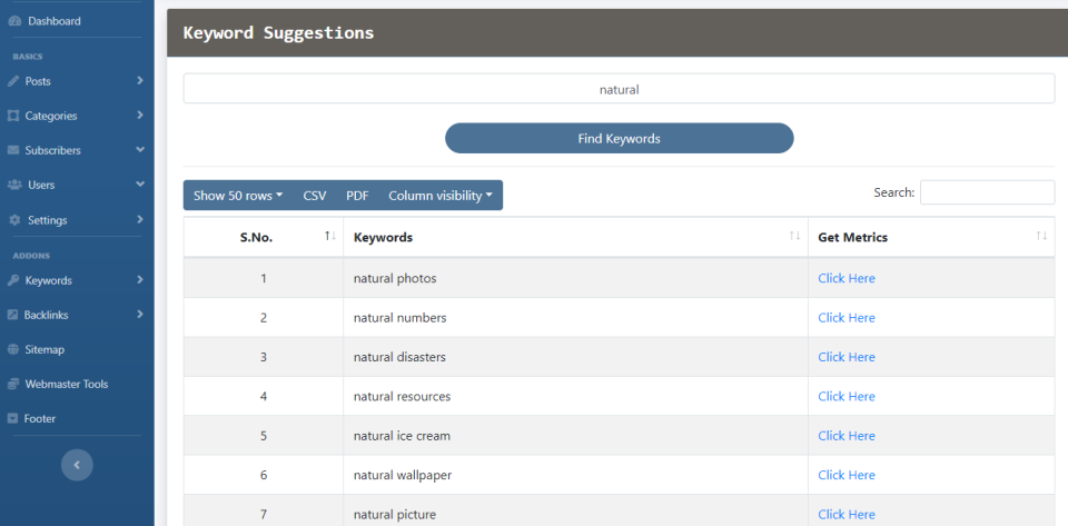 keyword suggestions seocm