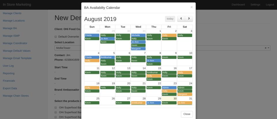 BA availability schedulin