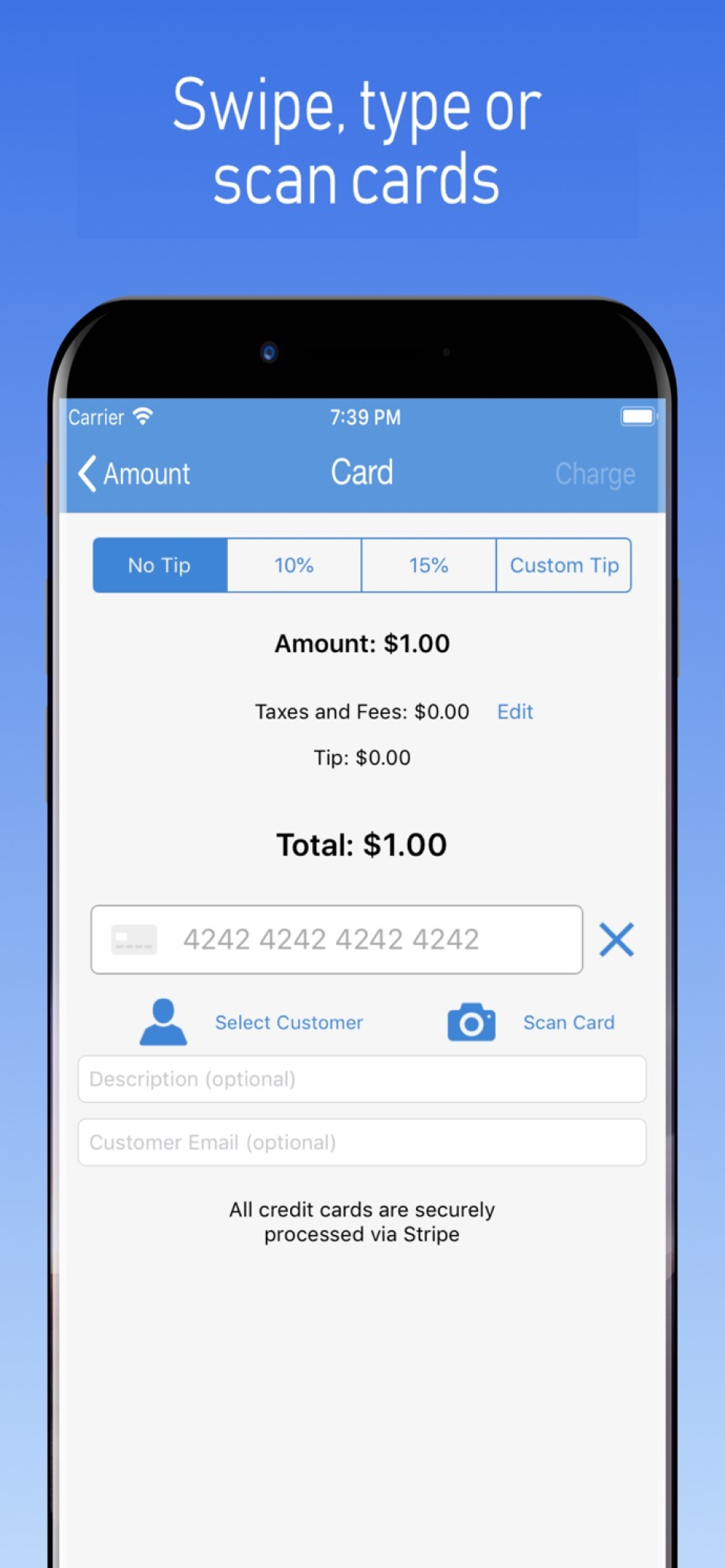 Type, swipe or scan cards