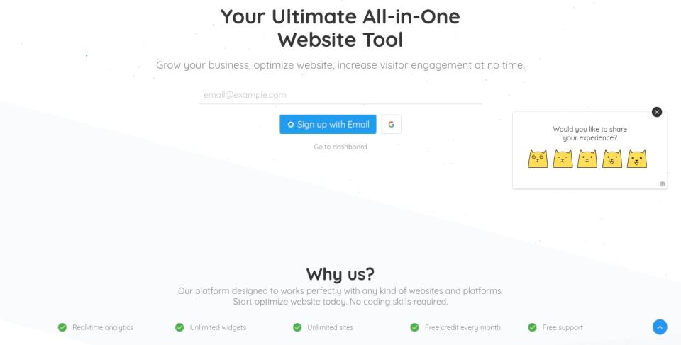 feedback widget on home p