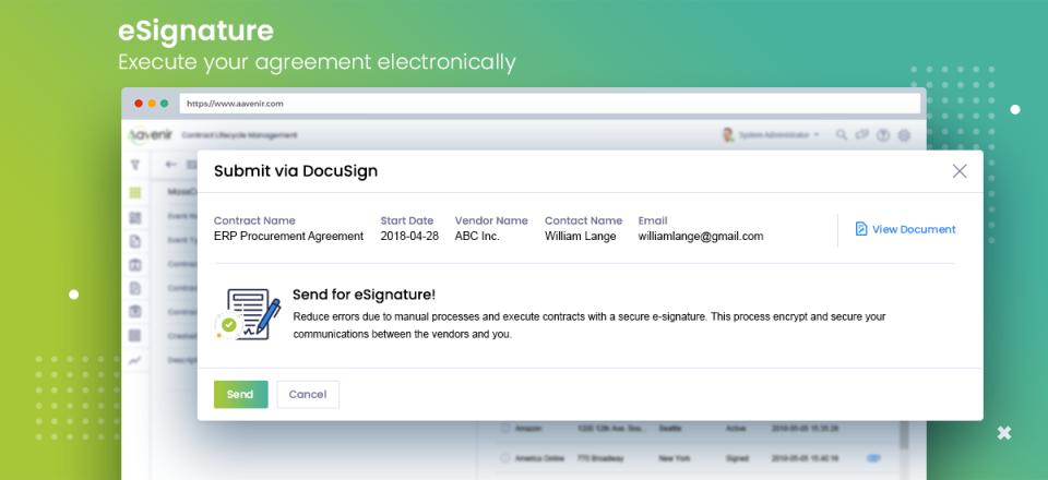 Aavenir CLM e-signature