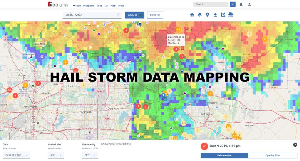 Hail storm data swaths