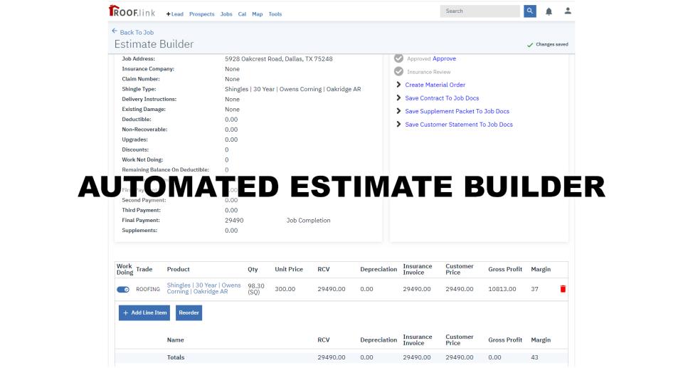 Auto estimate templates