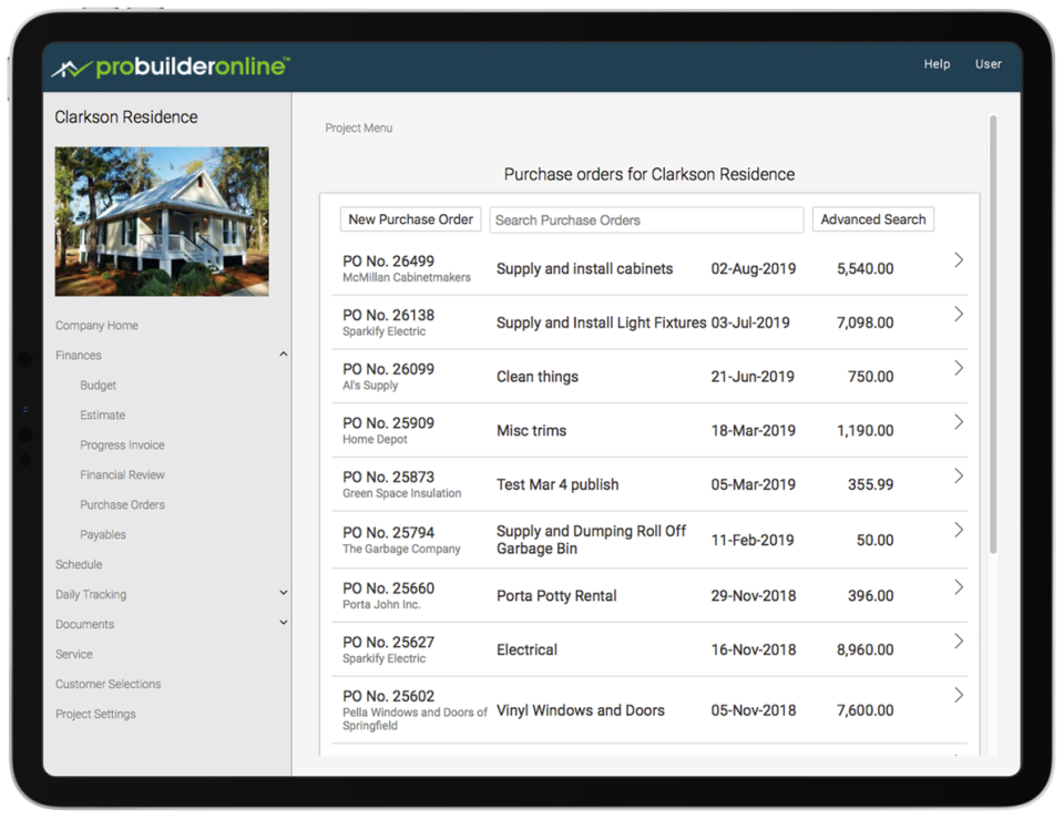 Simple purchase orders